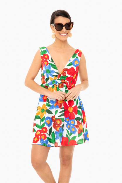 printed plunge ruffle mini dress