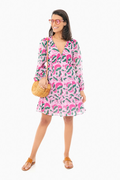 full bloom lilac sachet peony mini dress