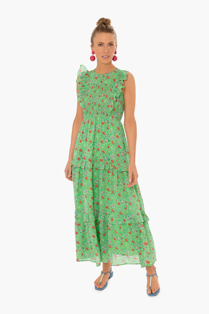 siesta bud green iris dress