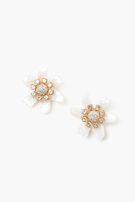 mother of pearl flower bulb button earrings