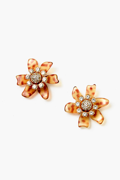 cheetah flower bulb button earrings