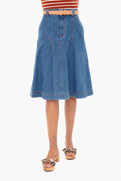 deep denim a-line skirt
