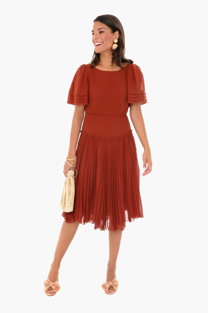 sepia brown pleated dress