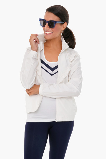 white ruffle windbreaker