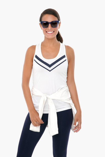 white and navy performance chevron tank