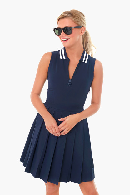 navy performance pleated golf dress