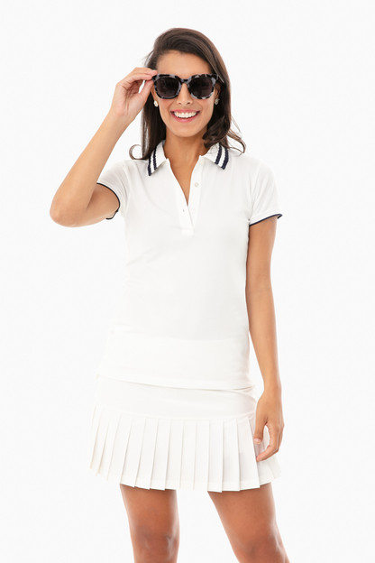 white and navy performance pique pleated collar polo
