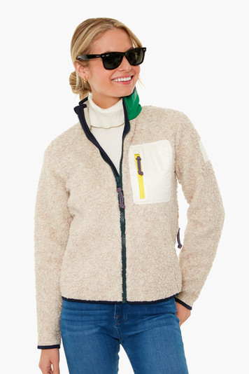 natural heather sherpa fleece jacket