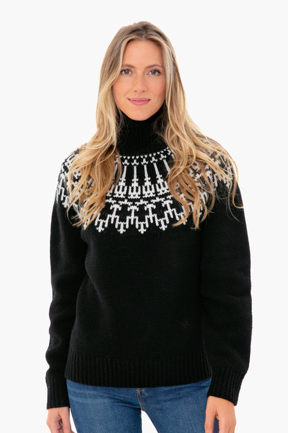 black merino fair isle sweater