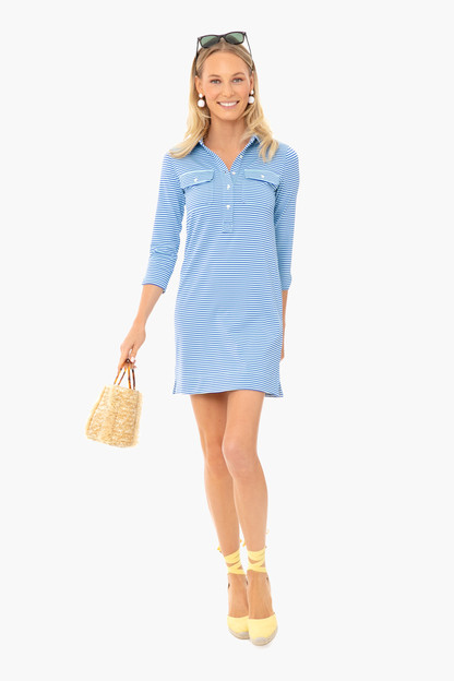 crystal blue striped margot shirt dress