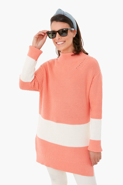 coral broadway stripe sweater