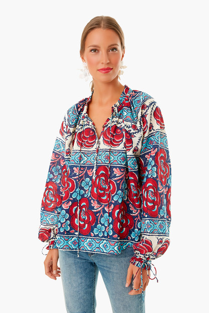Blue Multi Floral Tie Sleeve Blouse