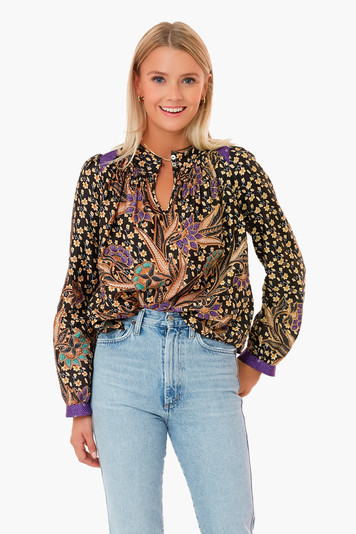 black multi floral ann blouse
