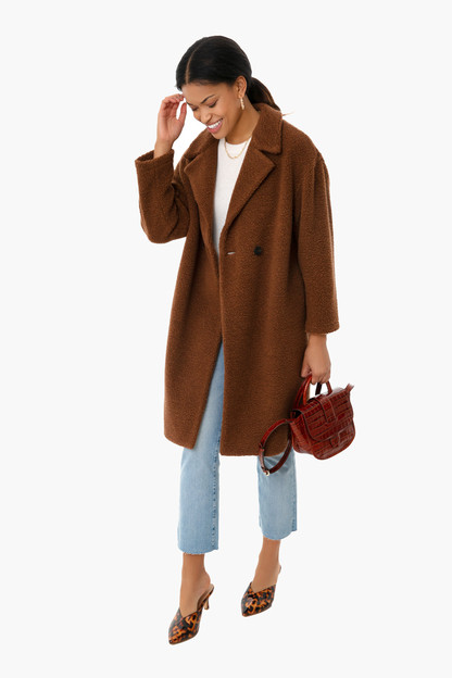 caramel dropped shoulder coat
