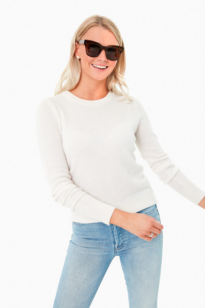 pearl white long sleeve cashmere crewneck sweater