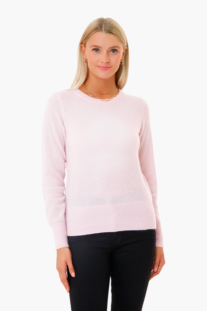 pink tourmaline long sleeve cashmere crewneck sweater