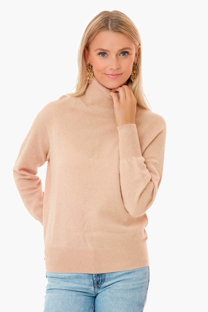camel heather ribbed trim cashmere turtleneck