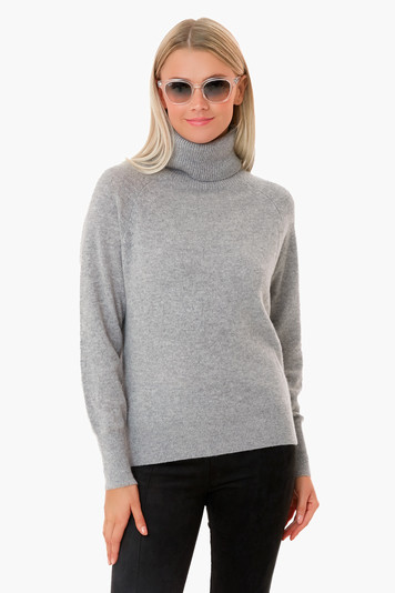 gray heather ribbed trim cashmere turtleneck