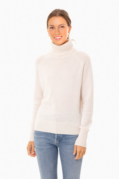 pearl white ribbed trim cashmere turtleneck
