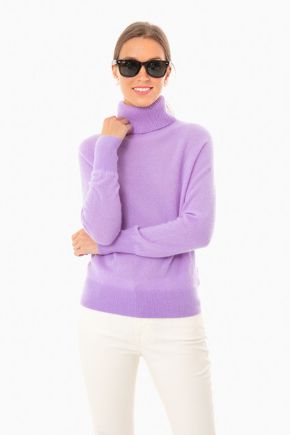 deep lilac ribbed trim turtleneck