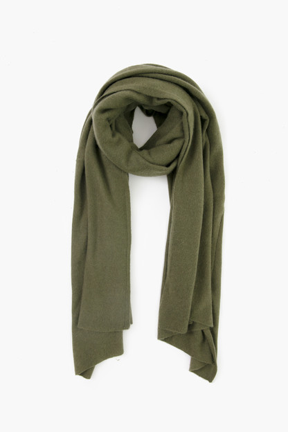khaki green cashmere travel wrap