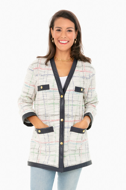 oversized tweed cardigan jacket