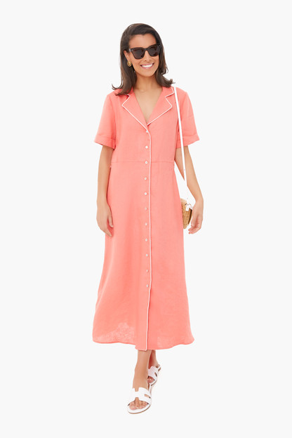 Coral Linen Meriweather Dress