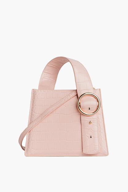 blush crocodile enchanted top handle bag
