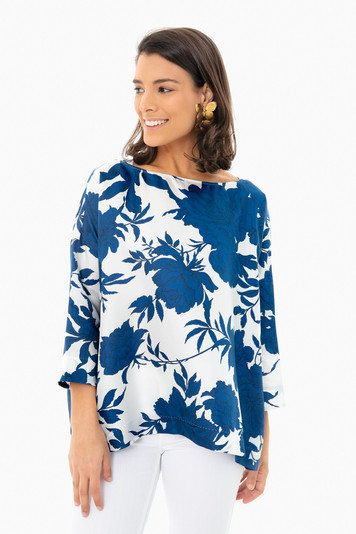navy floral bea blouse