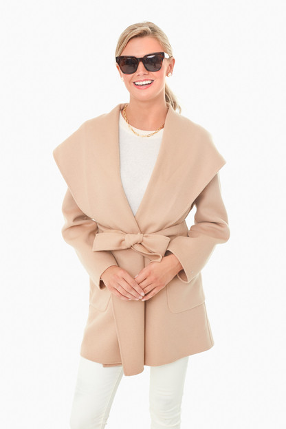 camel wool fumetto coat
