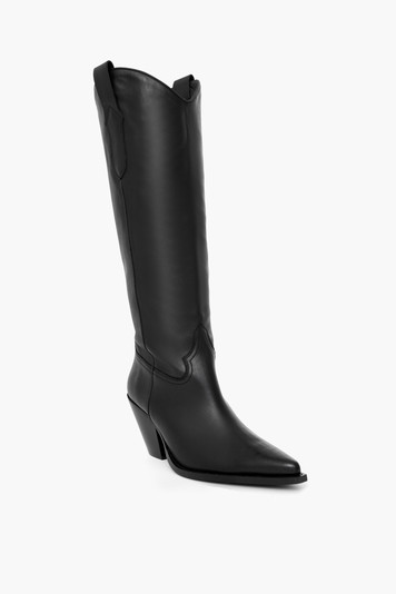fiona black leather boots