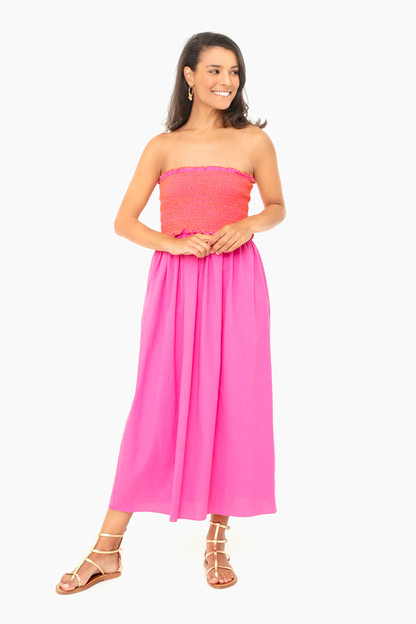 fuchsia strapless jessie dress
