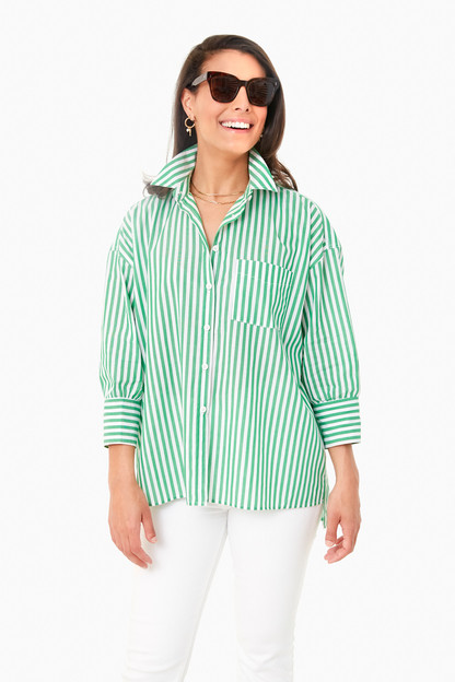 Green Striped Adair Boyfriend Shirt
