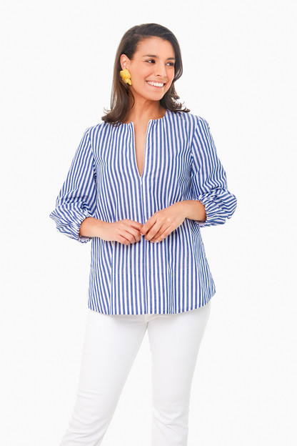 blue stripe poplin kieran blouse