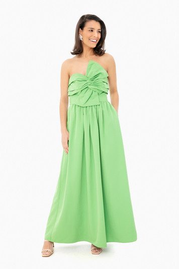 grass green bow dress