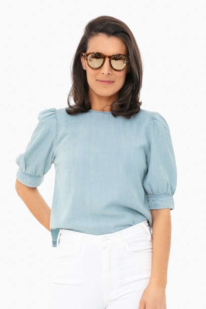 diamond in the puff chambray shirt