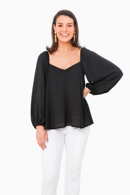 Black Pippa Puff Sleeve Blouse