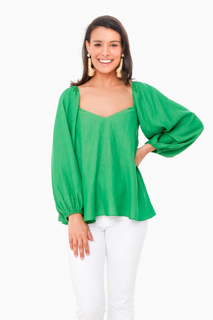 palm green pippa puff sleeve blouse