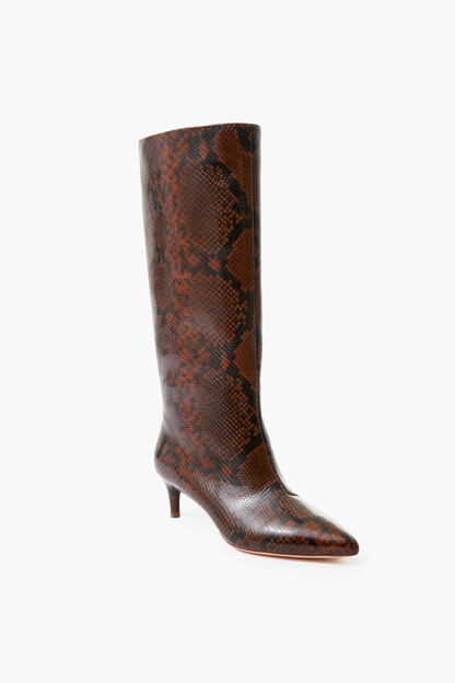 mocha gloria tall kitten heel boot