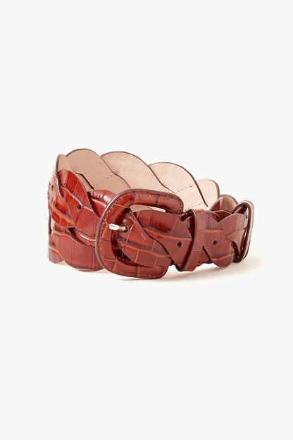 chestnut deidre wavy pieced belt