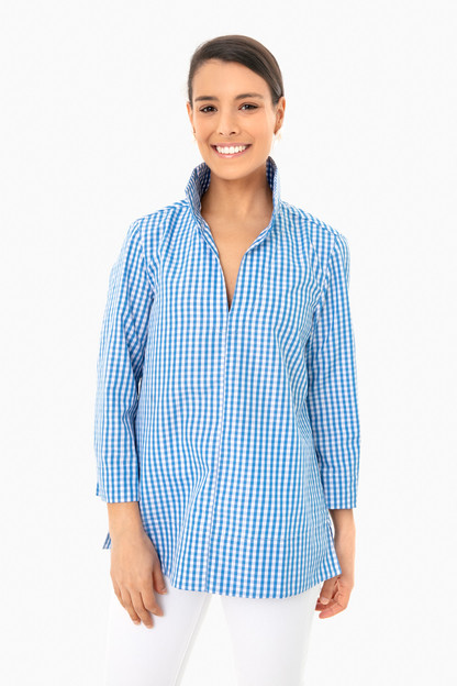 blue gingham margot top