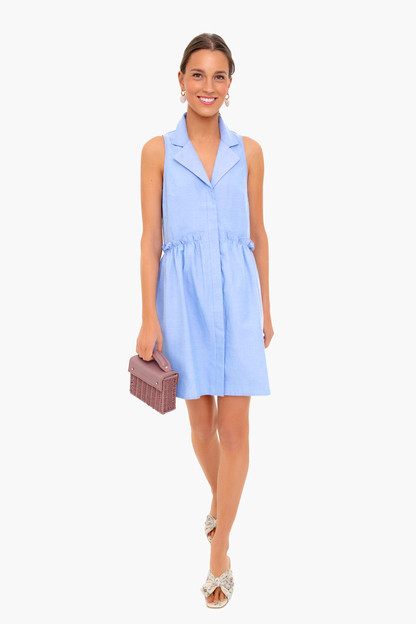 oxford blue sleeveless royal shirt dress