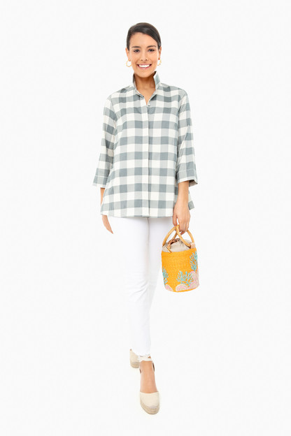 sage gingham charlie top