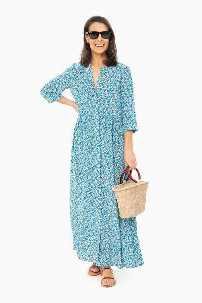 Liberty® Silk Maxi Royal Shirt Dress