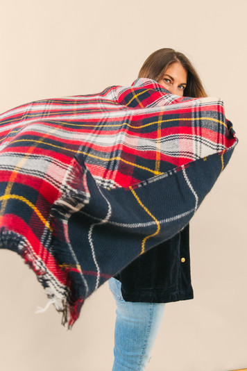 navy pearl reversible check scarf