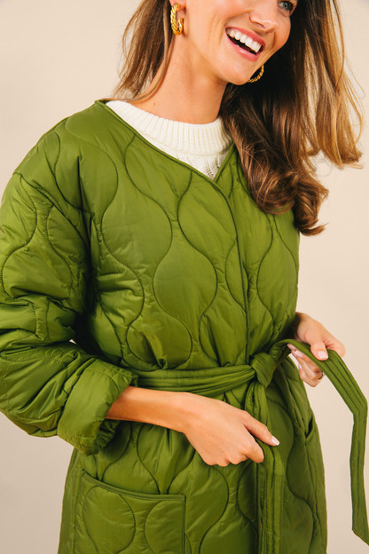 alexa chung vintage green martha cropped quilt jacket