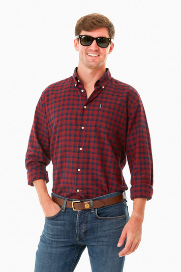 rich red country check 14 tailored shirt