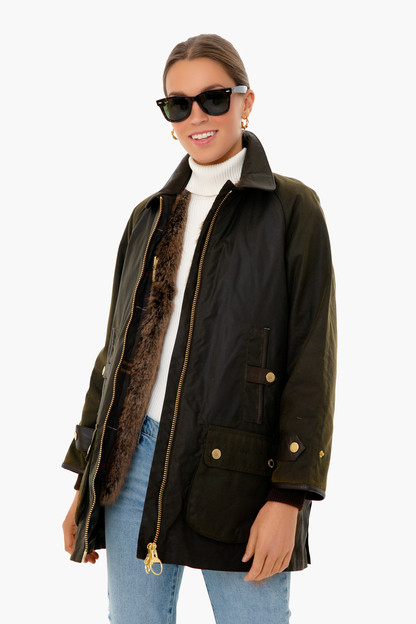 olive norwood 3-in-1 fur lined wax jacket