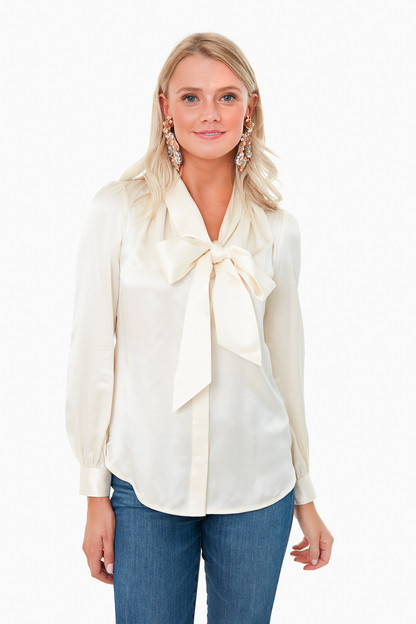 New Ivory Satin Bow Blouse