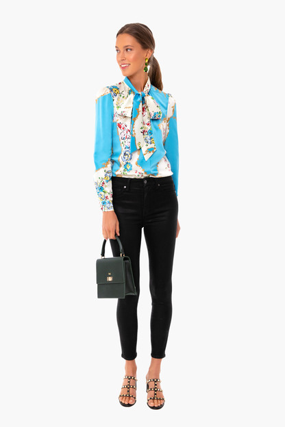 porcelain flower printed satin blouse